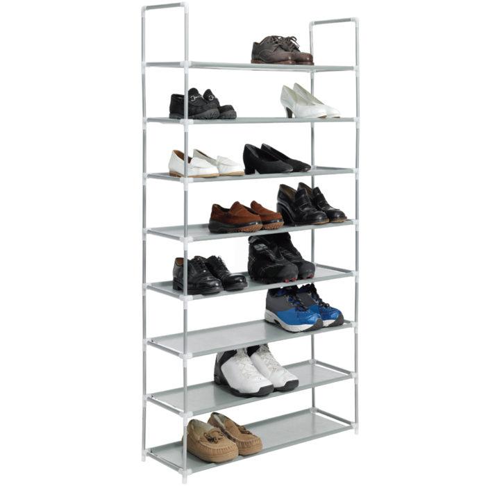 Zapatero metálico/lona organizador de zapatos de 8 baldas hasta 32 pares de zapatos BN1049/12
