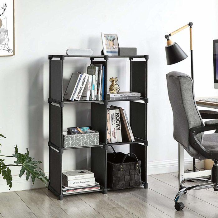 Estantería librería modular de 6 cubos BN1082 metálica y lona