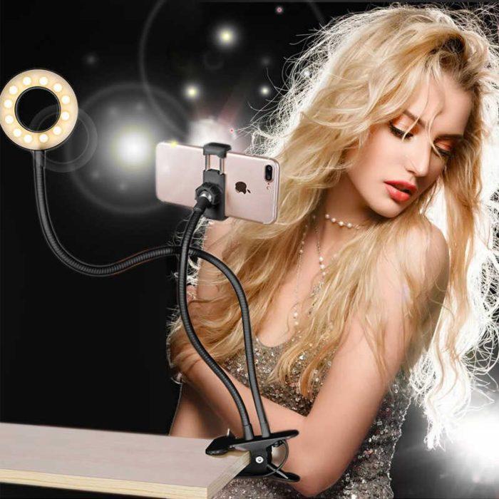 """Soporte para moviles de 68cm BN2278 con anillo de luz LED de 3,5"""" para videollamadas, maquillaje"""