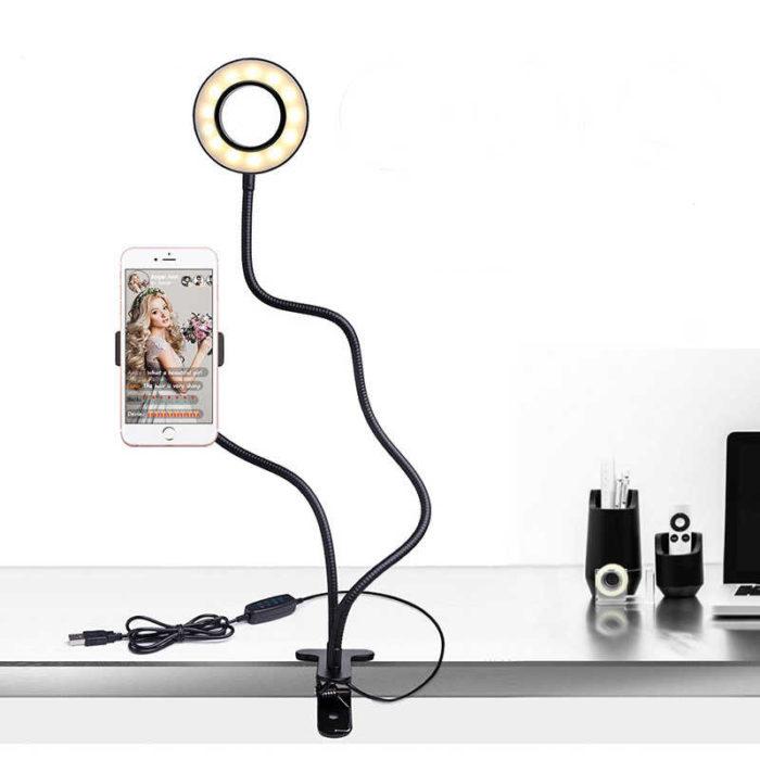 """Soporte para moviles de 77cm BN2279 con anillo de luz LED de 6"""" diametro para videollamadas, maquillaje"""