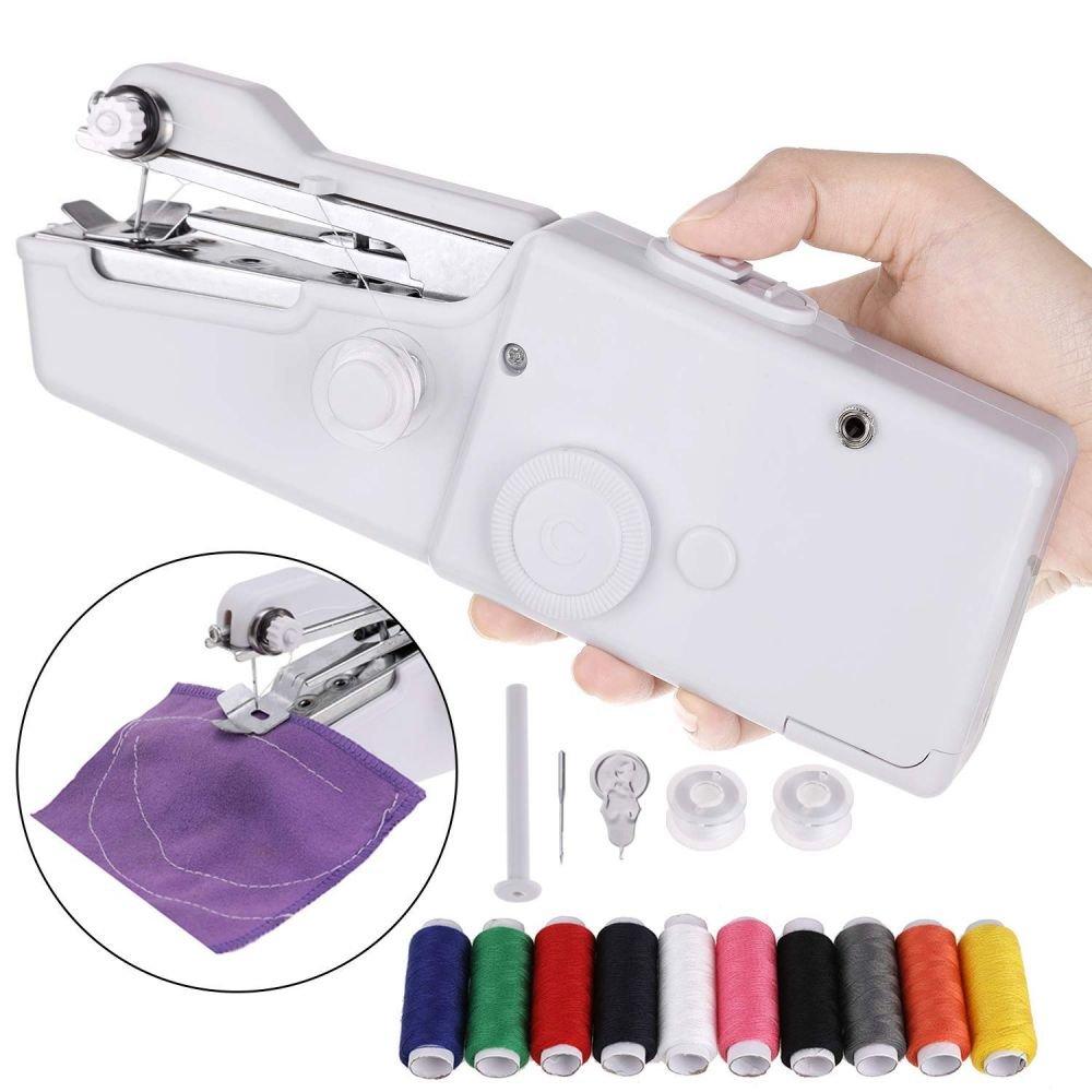 Máquina de coser portátil de mano ideal para viajes con accesorios y bobinas de hilo BN3403