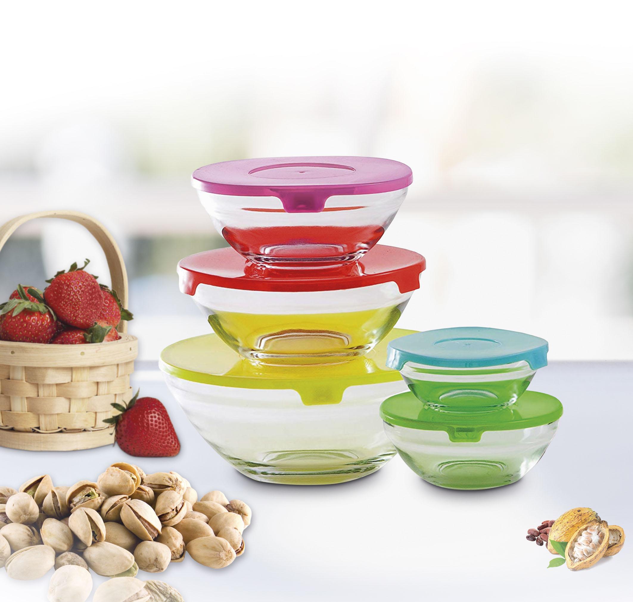 Set recipientes de cristal para alimentos de varios tamaños con tapas de colores BN5745 más regalos BF