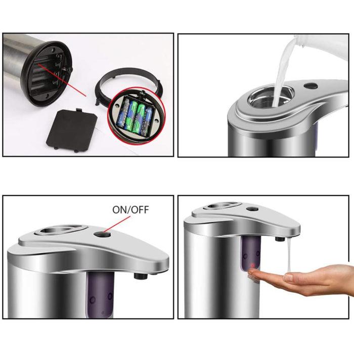 Dispensador de jabón automático BN4393 con sensor infrarrojos y depósito de 250ml