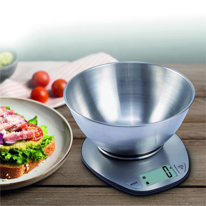 Báscula electrónica de bol We Houseware BN5981 de peso y volumen en acero inox