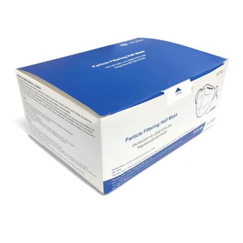 Mascarilla de protección FFP2 NR caja de 25 unidades individuales con clip para gomas orejas