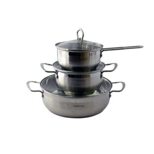 Batería de cocina de 6 piezas en acero inoxidable M3327