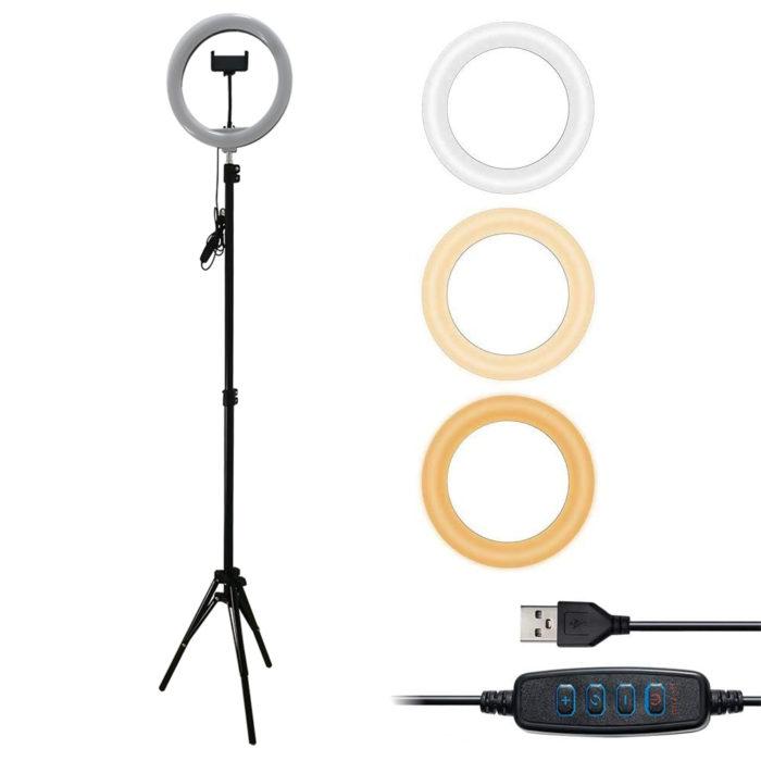"Lámpara anillo de luz led de 10"" We Houseware BN2286 con tripode y soporte para smartphone"